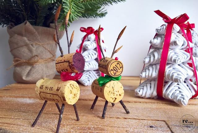 christmas tree, christmas decorations, wicker paper, wine cork,reindeer, choinka, papierowa wiklina, dekoracje świąteczne, korki po winie, renifer