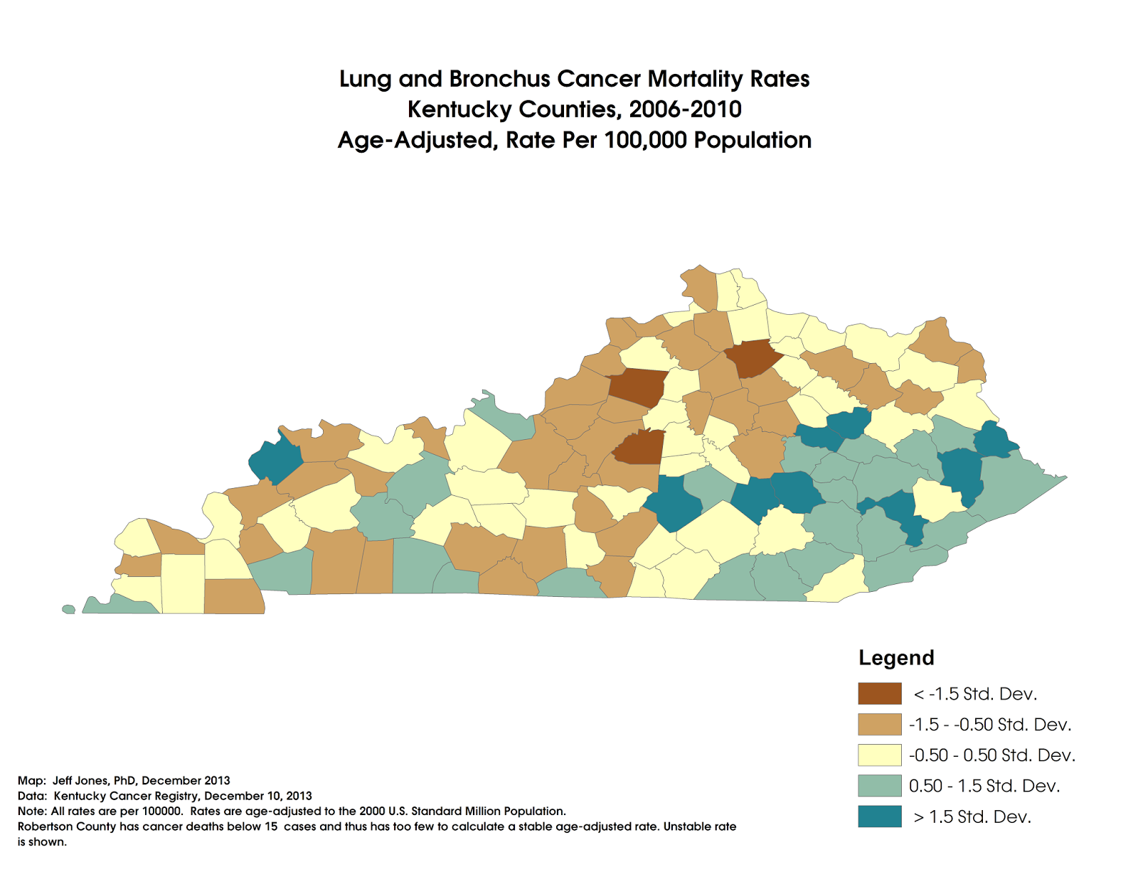 Middling America: Kentucky Lung Cancer Death Rates By County