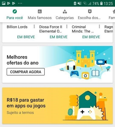 Google está oferecendo R$7,00 a R$35,00 Reais em descontos na Google Play Store