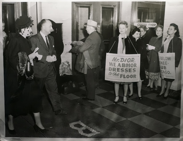 Christian Dior manifestation contre le new look chicago 1947