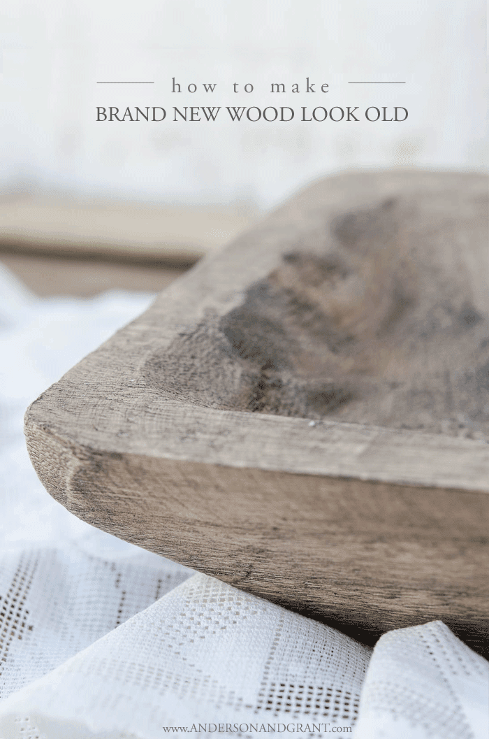 Easy technique for making new wood have the patina and age of old wood. #DIY #tutorial #DIYdecor #farmhouse #andersonandgrant