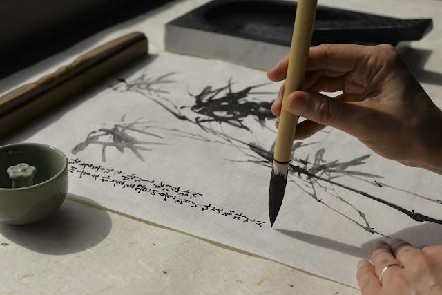 Escrita de caligrafia coreana