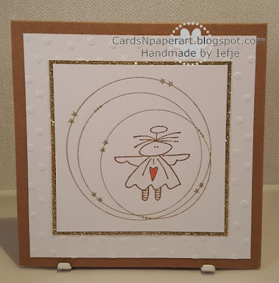 Handmade christmascard with Gummiapan angel stamp