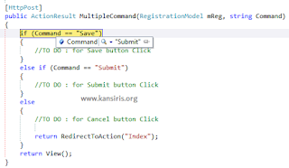 Handling multiple submit buttons on the same form - MVC