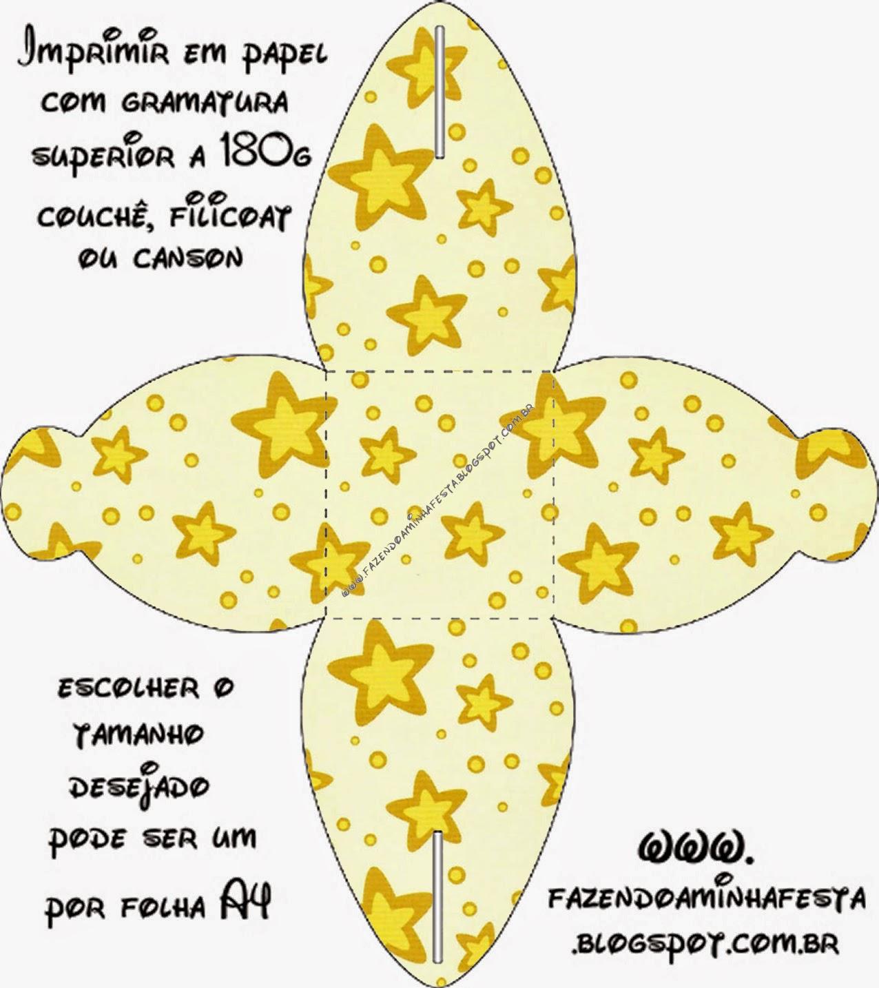 Caja para Cupcakes o Golosinas de Estrellas Doradas y Rayas de Colores.