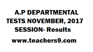 A.P DEPARTMENTAL TESTS NOVEMBER, 2017 SESSION- Results, paper code 88,97 and 141