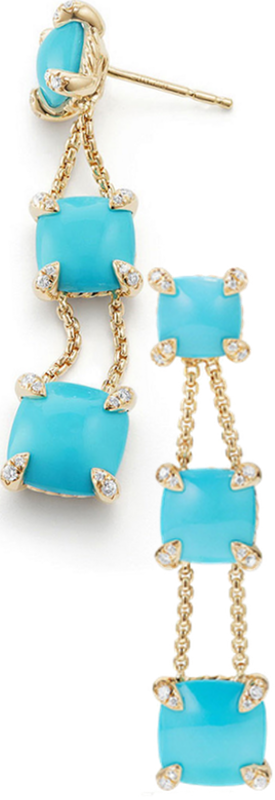 David Yurman Châtelaine Chain Drop Earrings with Turquoise & Diamonds