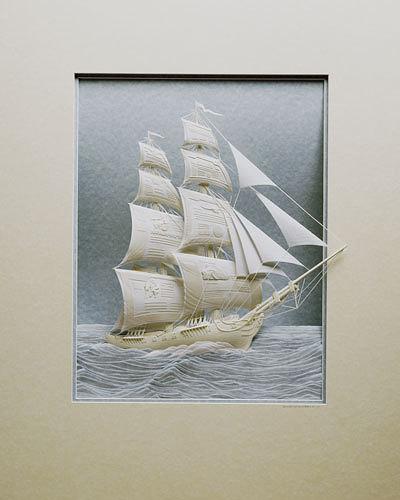 Trabajo artístico en papel de barco