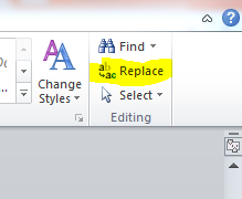 replace button in Microsoft word
