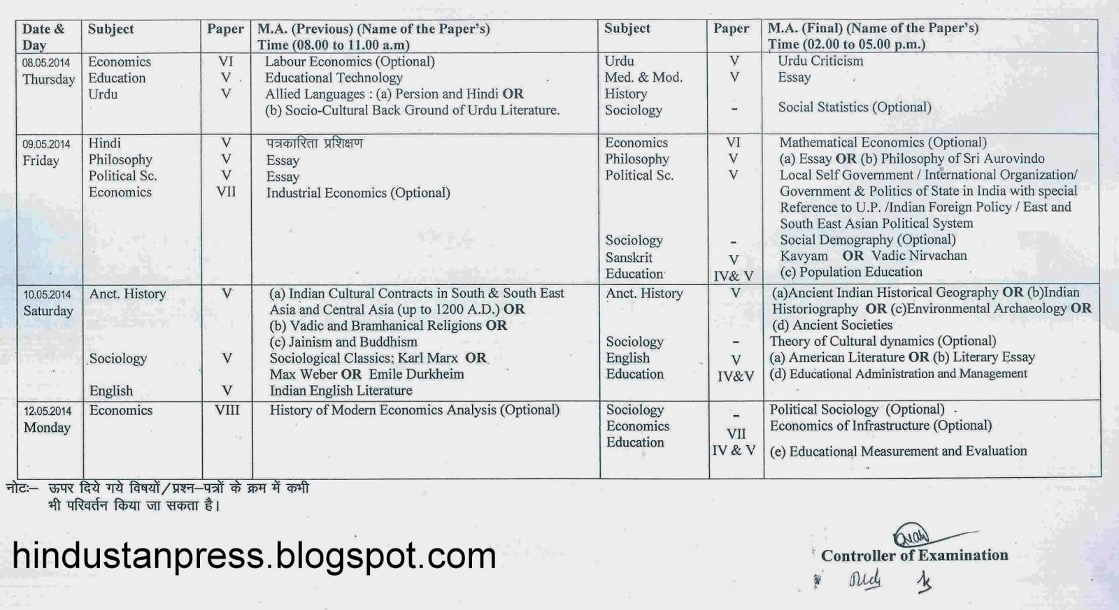 Avadh University Exam Date Sheet/Time table 2014 BA B.Sc