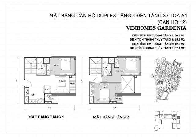 Duplex 12 - Tòa A1 Vinhomes Gardenia