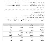 أوراق عمل مع معاني كلمات درس شجرة النخيل للغة العربية خامس