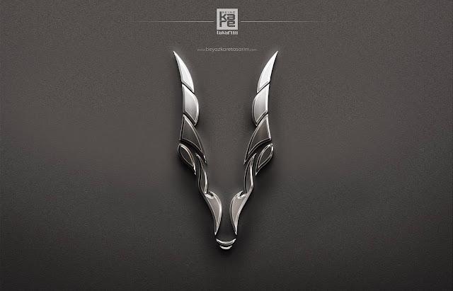 Gümüş Metal Logo Tasarımı keçi oğlak boynuzu iconu