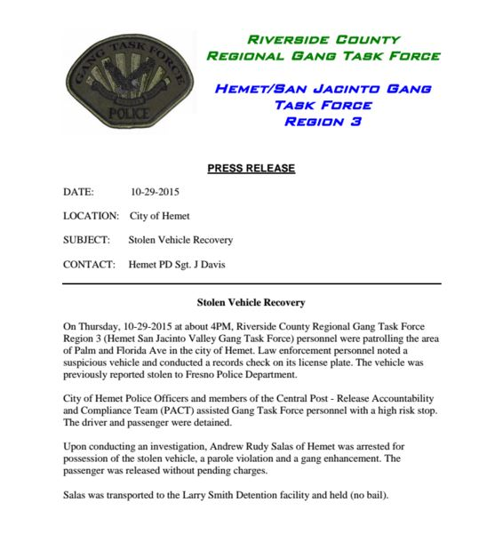 HemetEyeNews: Stolen Vehicle from Fresno Ca recovered in