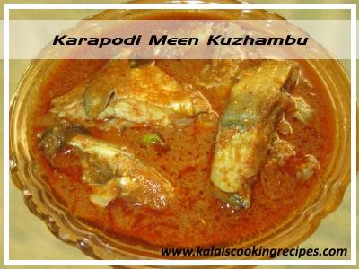 Chettinad Karapodi Meen Kuzhambu / Silver Belly - Pony Fish Curry