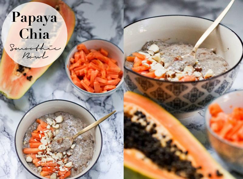 """Papaya Chia Smoothie Bowl in IB Laursen Casablanca Schalen mit goldenem Löffel von ZARA Home Besteckserie """"Oro Viejo"""""""
