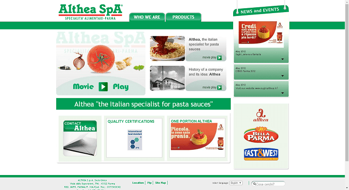 Picture to Italian food exporter company named Althea Spa