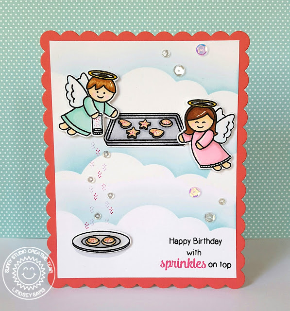 Sunny Studio Stamps: Little Angels & Blissful Baking Happy Birthday With Sprinkles On Top Card by Lindsey Sams.