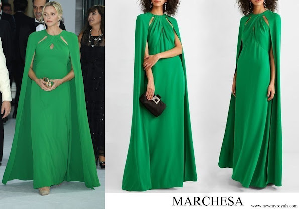 Princess Charlene wore Marchesa notte green cape effect crepe gown