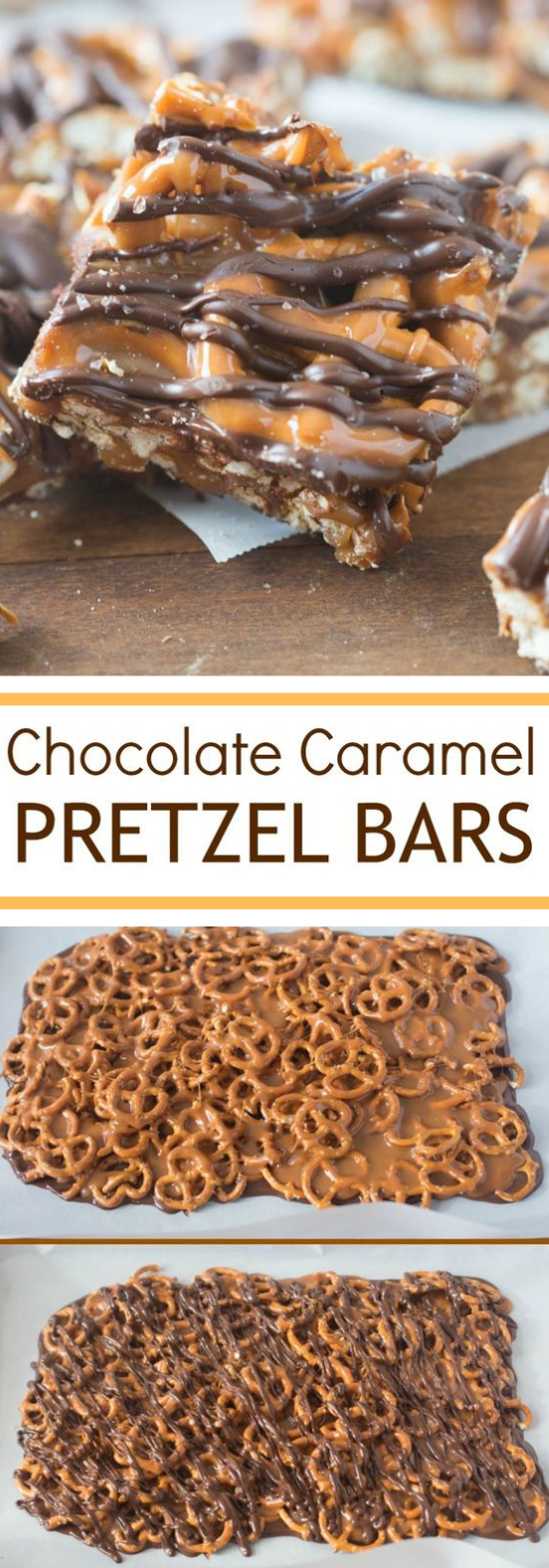 SALTED CHOCOLATE AND CARAMEL PRETZEL BARS #chocolate #bars