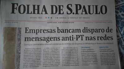 Manchete da Folha com denúncia de uso ilegal do WhatsApp