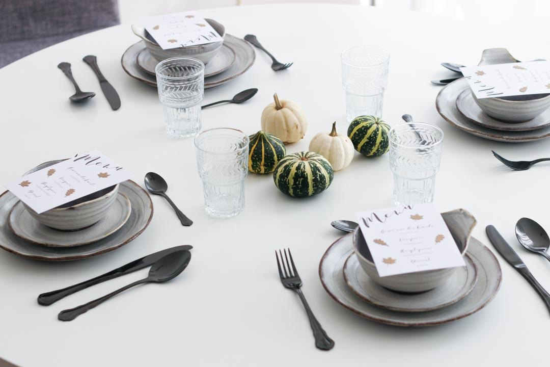 Dinner, Zucchini-Puffer, Kartoffelsuppe, Nussbraten, Rotkohl, Apfel Pie, Ernte, Erntedank