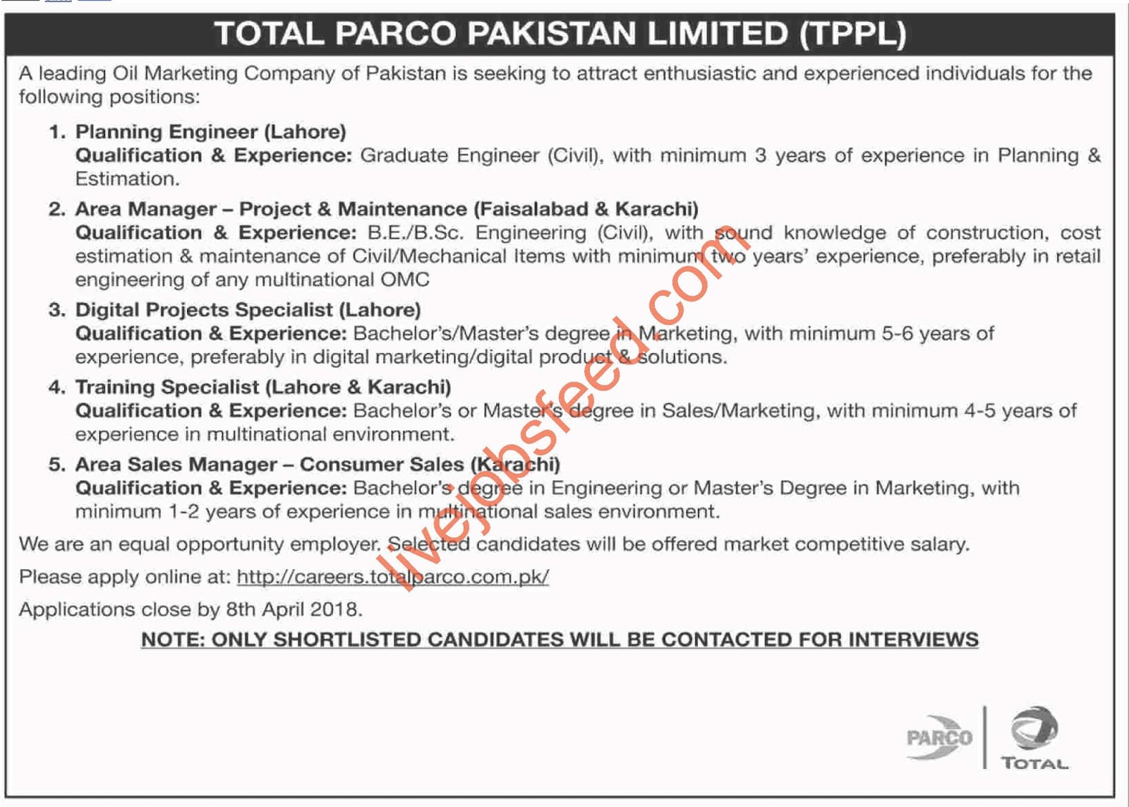 total parco pakistan limited tppl latest advertisement vacancies apply online last date 8 april 2018 by indian girls whatsapp numbers