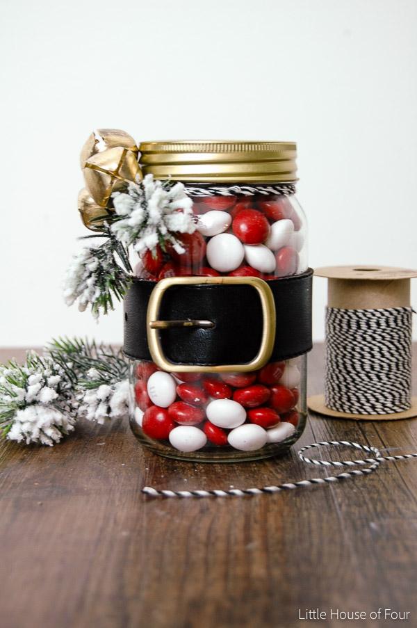 Dollar Store Santa belt mason jars