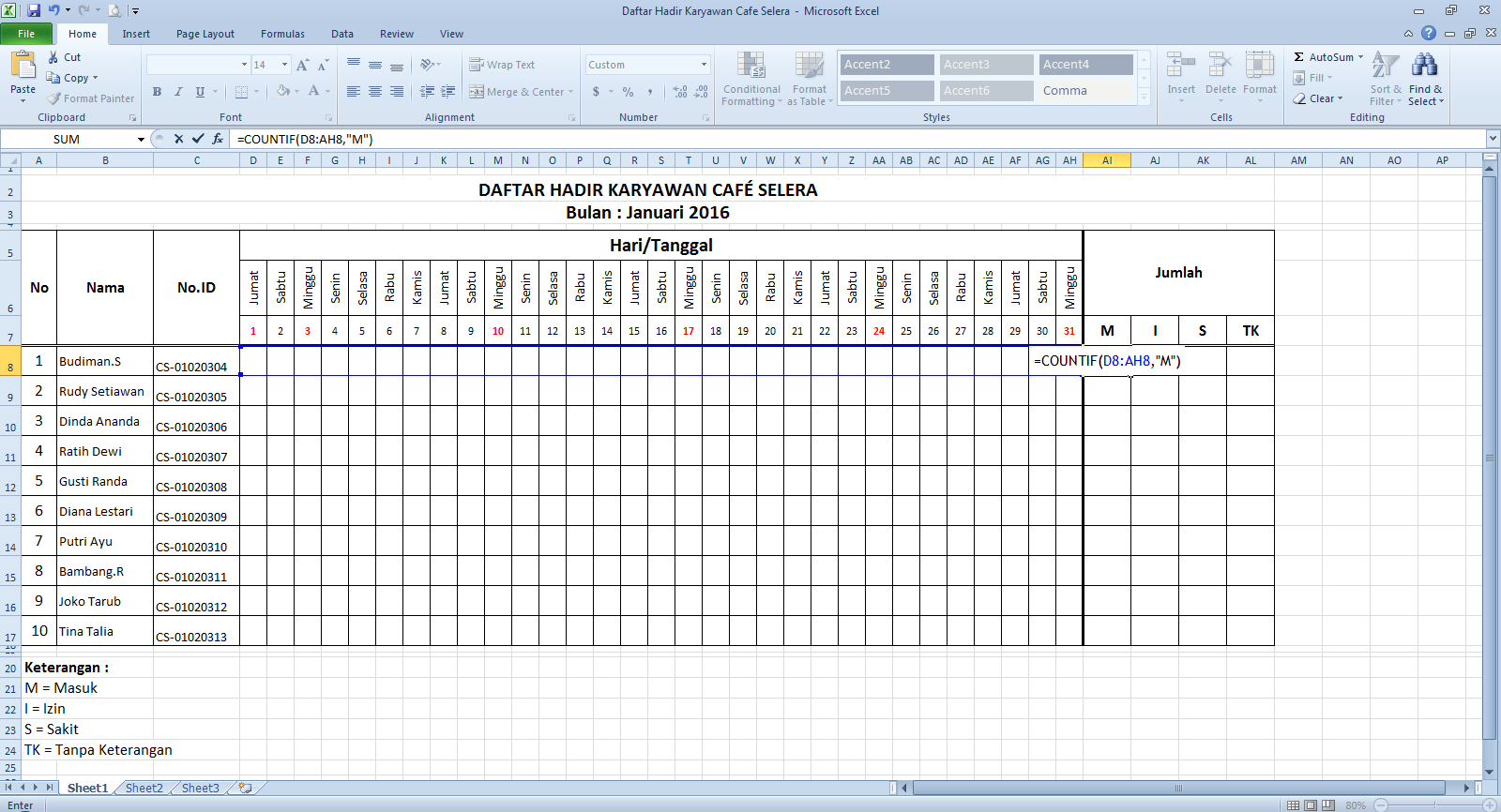 Cara Membuat Daftar Hadir Di Microsoft Excel ~ Cari2-Cara