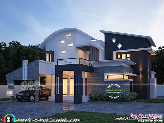 315 sq-m curved roof contemporary house plan