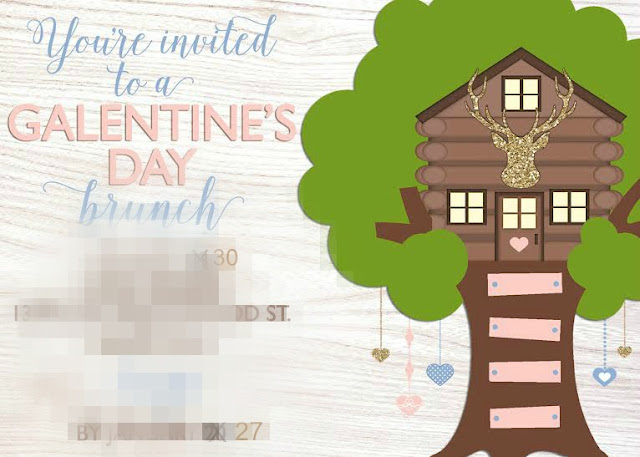 Galentine's Day Girls Fort Brunch invitation by Painting Paris Pink