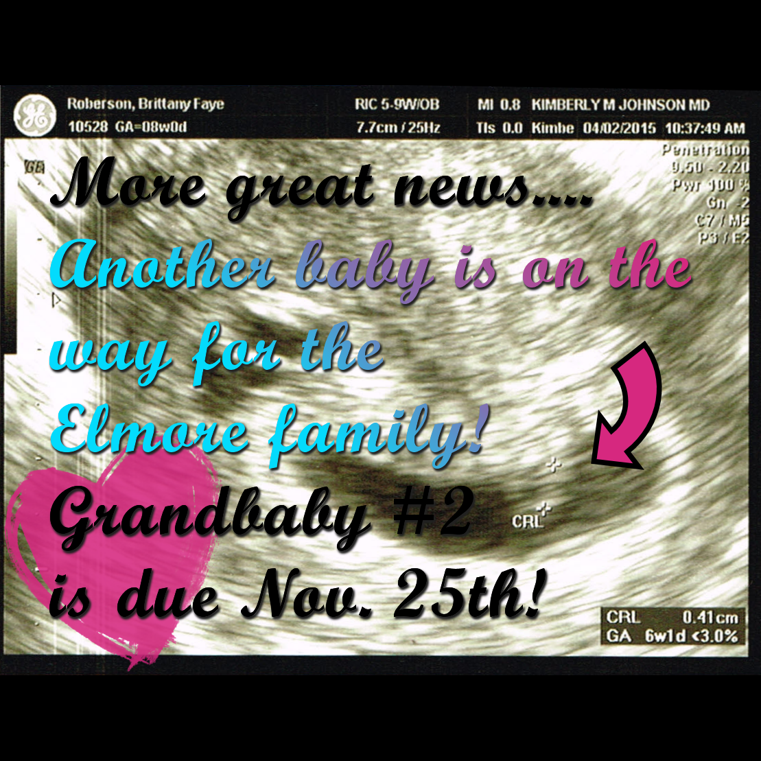 9566a2d3d21 My Easter gift from my oldest son was the news that he is making me a  grandma as well! Grandbaby  2 is due November 25...two grandbabies in one  year!
