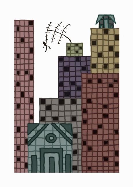 Illusztráció gyerekvershez, digitális kép nagyvárosi dzsungel panelházairól a belvárosban, lakótelep tetején imbolygó antenna, rajta gyerek hintázik.