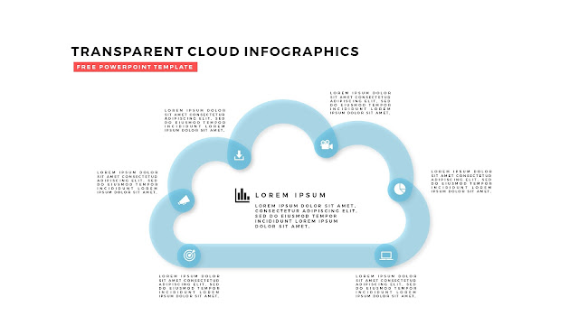 Free Infographic PowerPoint Design Elements with Transparent Clouds in White Background Slide 2