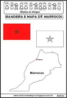 Bandeira e mapa de Marrocos