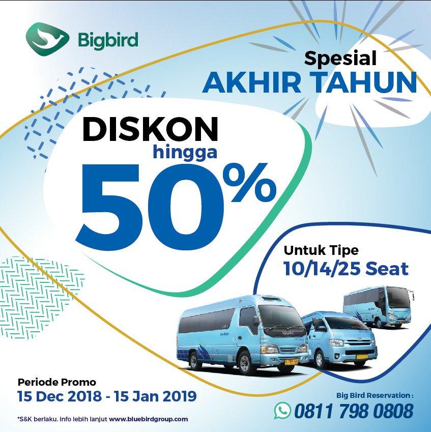BlueBird - Promo Diskon s.d 50% Travel Pakai BirdBird (Min 12 Jam)