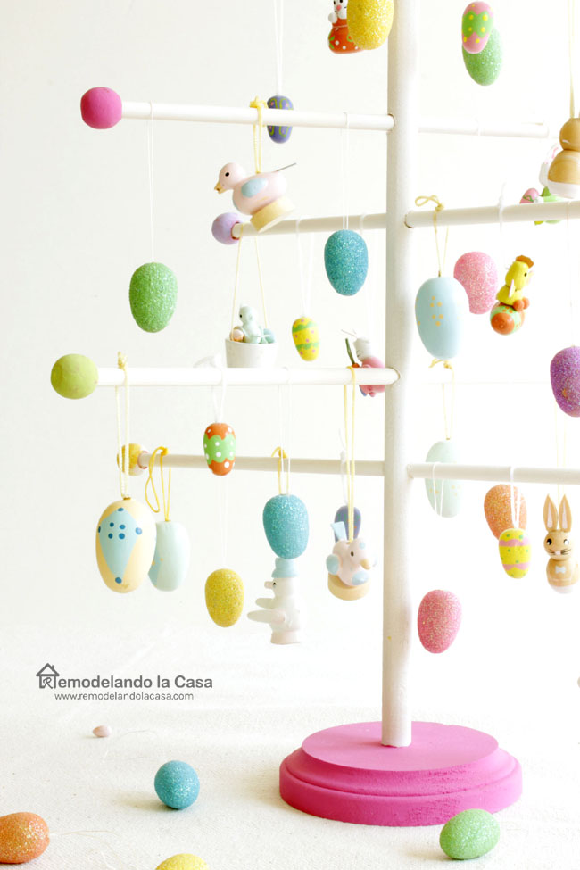 Easter egg tree made of round dowels