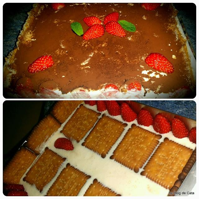 Tiramisu cu căpșuni și biscuiti