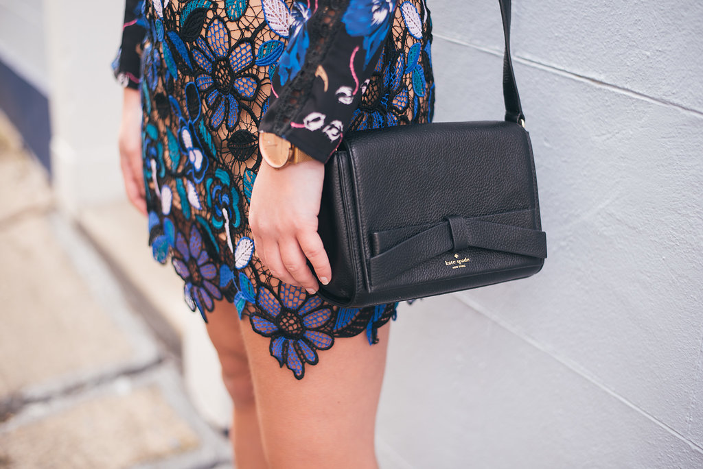 Cari's Closet Navy and Black Lace Dress Detail with Black Kate Spade Cross Body Bag