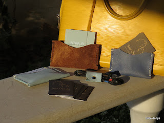 LoveLoveLea's brown, night blue and pale blue leather business cards wallets