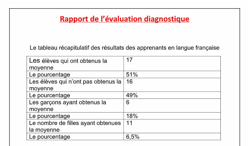 Un Rapport De L Evaluation Diagnostique