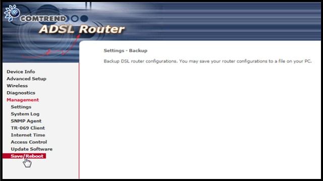 Comtrend CT-5361 save reboot