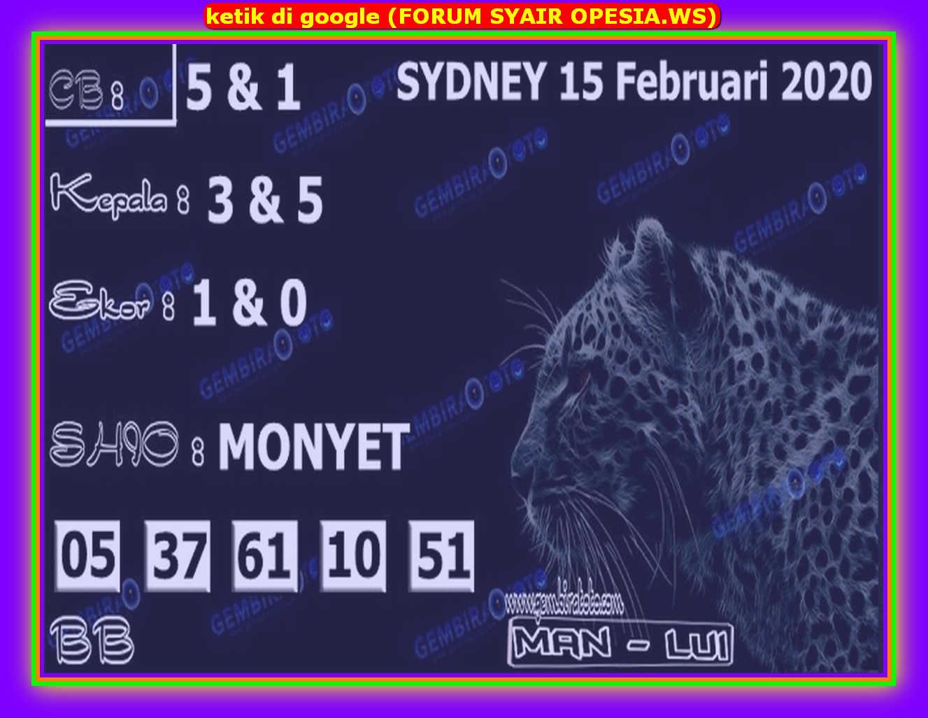 Kode syair Sydney Sabtu 15 Februari 2020 83