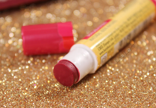 Burt's Bees Kissable Colour Set - Rhubarb Lip Shimmer Swatches & Review
