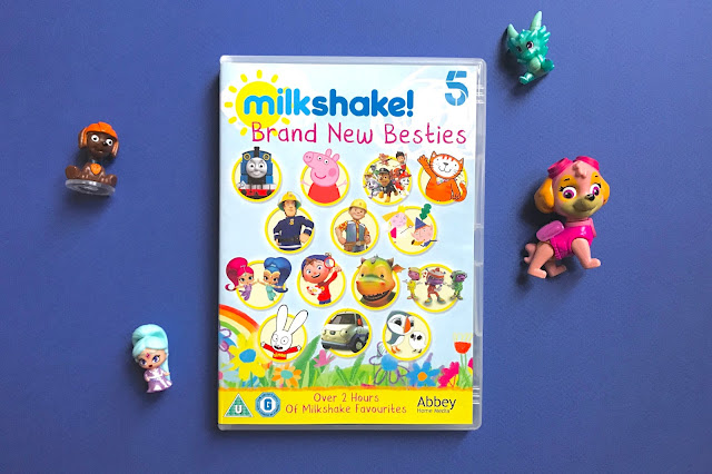 Photo of the Milkshake! DVD with a teenie genie from Shimmer and Shine and Tracker and Sky from Paw Patrol