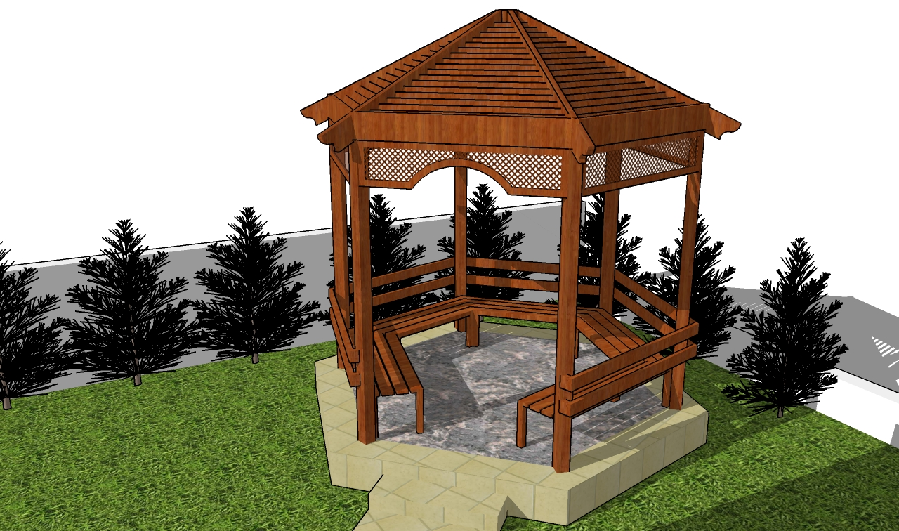 Building Gazebo on hexagon house plan