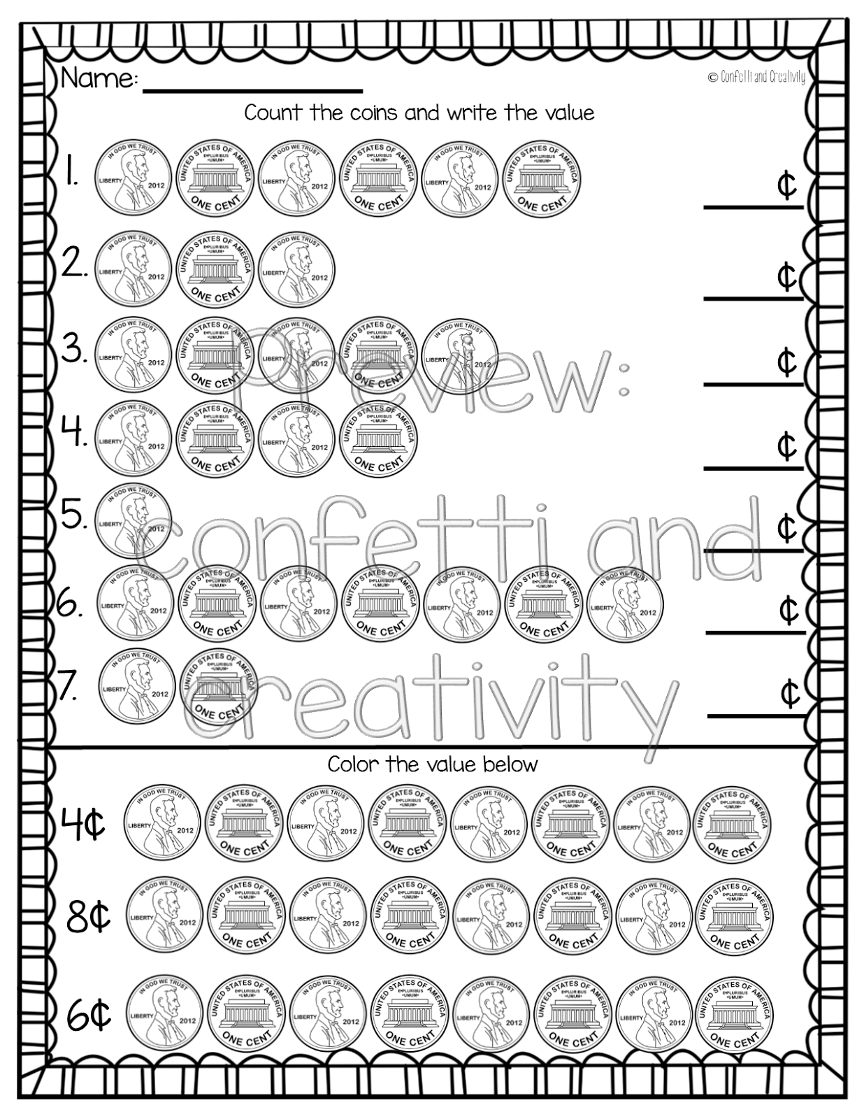 Coin Worksheet Dimes Nickels Pennies