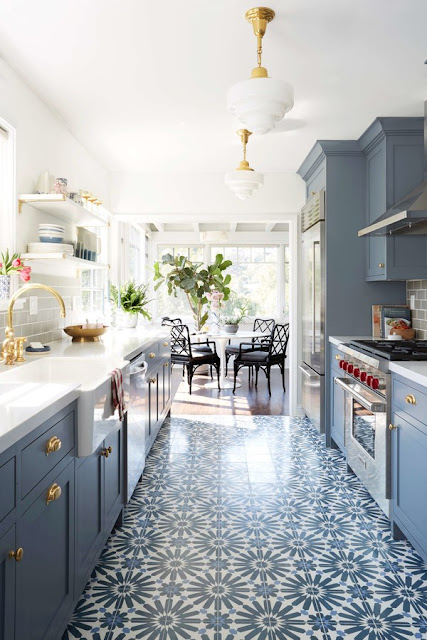 Beautiful blue and white modern farmhouse kitchen by Emily Henderson - found on Hello Lovely Studio