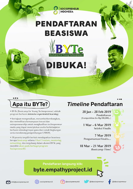 Program Beasiswa Bootcamp For Young Technopreneur BYTe 2019