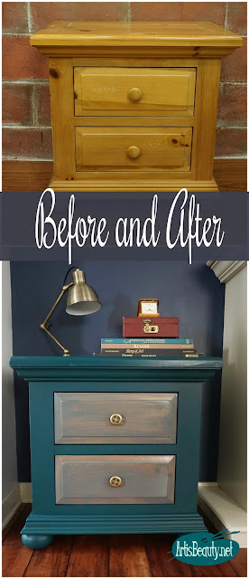 before and after outdated gold pine nightstand turned boho beauty diy general finishes milk paint eclectic bohemian home decor
